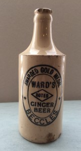 Wards of Beccles stoneware bottle for Ginger Beer